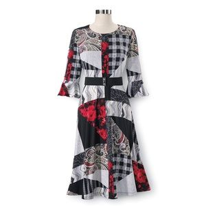 New NORTH STYLE Belted Mix PRINT DRESS patchwork